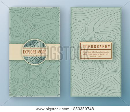 Two Abstract Retro Vertical Banners With Map Pattern And Copy Space Frames. Topographic Map Travel B
