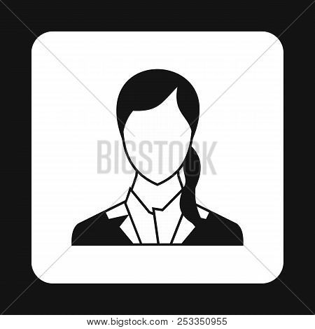 Woman with ponytail avatar icon in simple style isolated on white background. People symbol poster