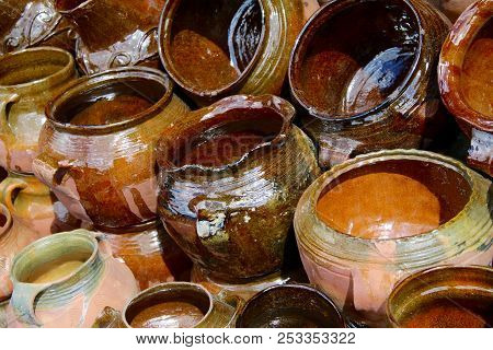 Assorted Pottery Jugs, Pots, Bowls All Glazed And Sealed