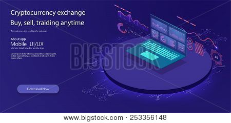 Financial Review With Laptop And Infographic Elements. Isometric Set Of Infographics With Data Finan