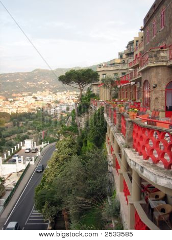 View From Colorful Cliffside Hotel In Sorrento