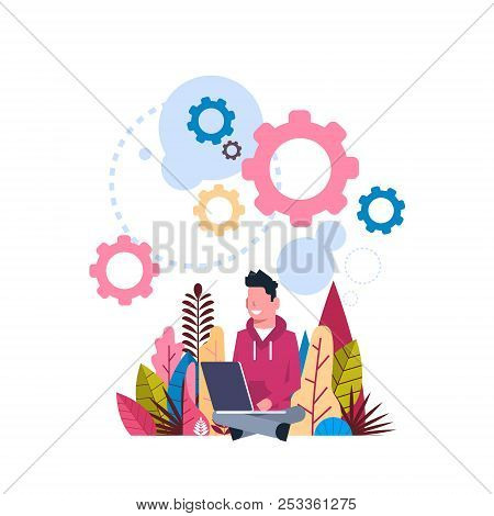 Hipster Hard Working Process Wheel Gear Generating Processing Concept Background Flat