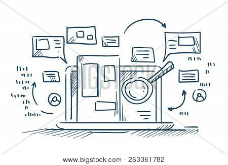 Magnify Glass Search Information On Laptop Internet Browsing Concept On White Background Sketch Dood