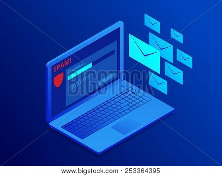 Isometric Website Banner Of E-mail Protection, Anti-malware Software. Email Spamming Attack. Antivir
