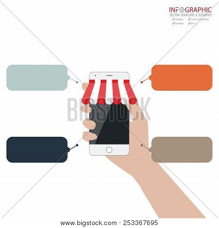 Vector Abstract Element Infographics 4 Option With Flat Design Illustration Concepts For Business An