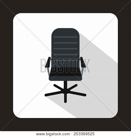 Black Leather Office Chair Icon In Flat Style Isolated With Long Shadow
