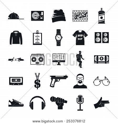 Hiphop Rap Swag Music Dance Icons Set. Simple Illustration Of 16 Hiphop Rap Swag Music Dance Icons F