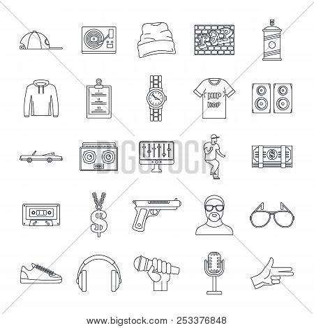 Hiphop Rap Swag Music Dance Icons Set. Outline Illustration Of 16 Hiphop Rap Swag Music Dance Icons