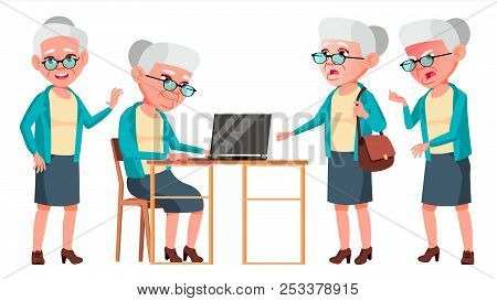 Old Woman Poses Set Vector. Elderly People. Senior Person. Aged. Cheerful Grandparent. Presentation,