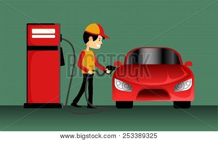 The Smart Fuel Pump Boy Holding A Gasoline Nozzle To Filling Oil At The Red Car On A Green Backgroun