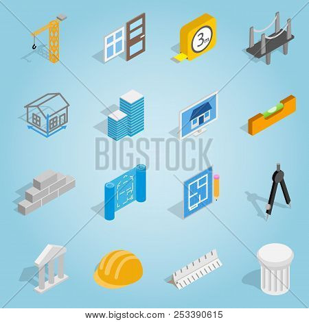 Isometric Architecture Icons Set. Universal Architecture Icons To Use For Web And Mobile Ui, Set Of