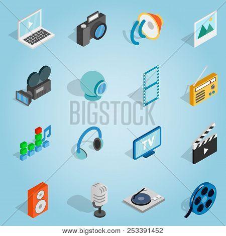 Isometric Media Set Icons. Universal Media Icons To Use For Web And Mobile Ui, Set Of Basic Media El