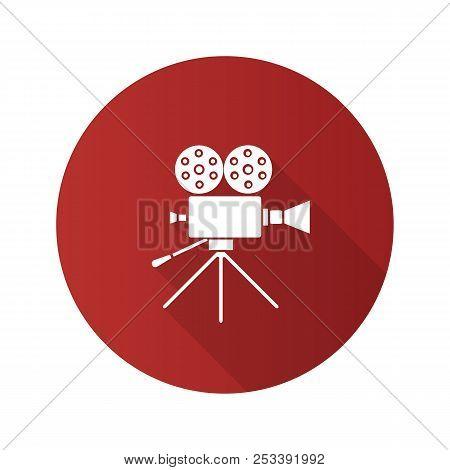 Movie Camera Flat Design Long Shadow Glyph Icon. Cine Camera. Vector Silhouette Illustration