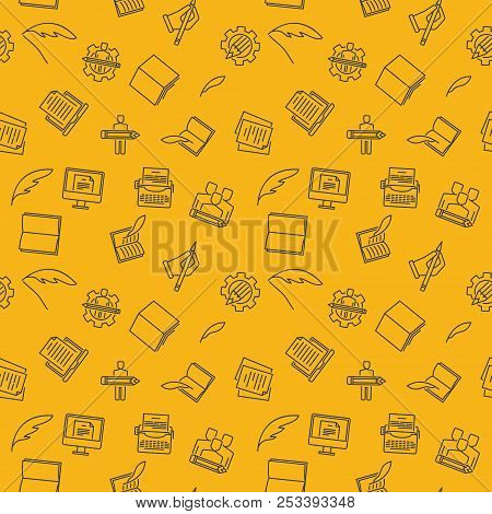 Copywriting And Rewriting Vector Yellow Seamless Pattern Or Background