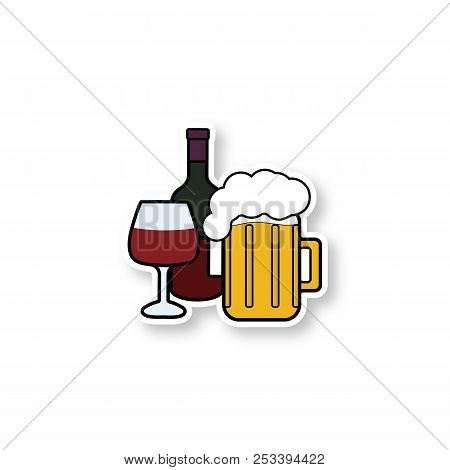 Alcohol Drinks Patch. Wine Bottle, Wineglass And Beer Mug With Foam. Alcoholic Beverages. Color Stic