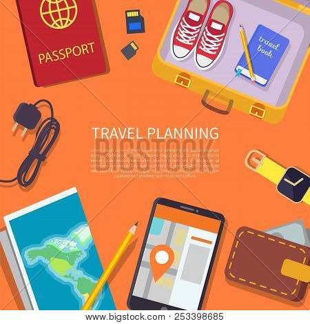 Travel Planning Headline And Text Sample In Centerpiece Set, Passport With Wallet, Paper Map Of Worl