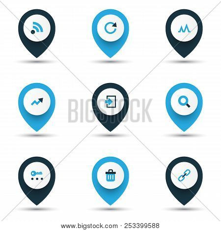 Interface Icons Colored Set With Trend, Search, Privacy And Other Recycle Bin    Elements. Isolated