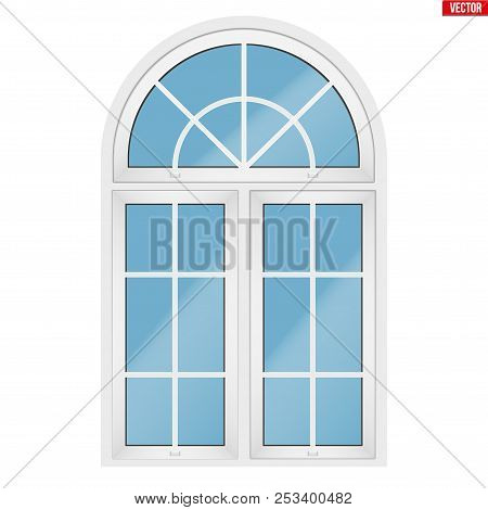 Metal Plastic Pvc Window With Three Sash And Arch And Opening Casements. Outdoor View. Models And Fr