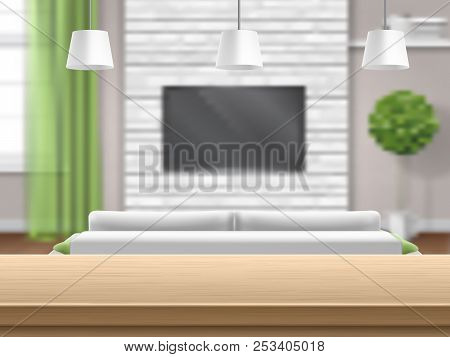 View On Living Room With Sofa And Tv Through The Wooden Bar Table. Bright Interior. Living Room With