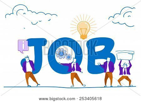 Businessmen Hard Working Process Job Lettering Teamwork Process Concept Man Silhouette Horizontal Sk