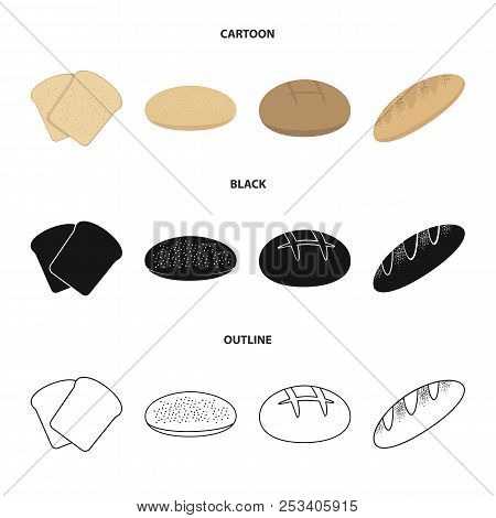 Toast, Pizza Stock, Ruffed Loaf, Round Rye.bread Set Collection Icons In Cartoon, Black, Outline Sty