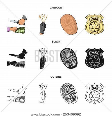 Robbery Attack, Fingerprint, Police Officer Badge, Pickpockets.crime Set Collection Icons In Cartoon