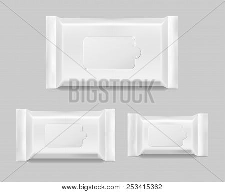 Set Of Wet Wipes Napkins Template Isolated. White Wet Wipes Blank Package. Vector Illustration