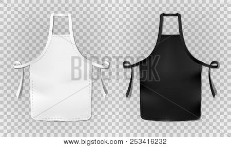 White And Black Kitchen Chef Apron Isolated On Transparent Background. Protective Realistic Apron Fo