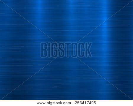 Blue Metal Technology Horizontal Background With Polished, Brushed Texture, Chrome, Silver, Steel, A
