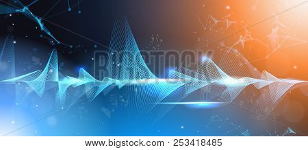 Music Waves Equalizer Musical Bar Dark Background Digital Wave Tech Concept Horizontal