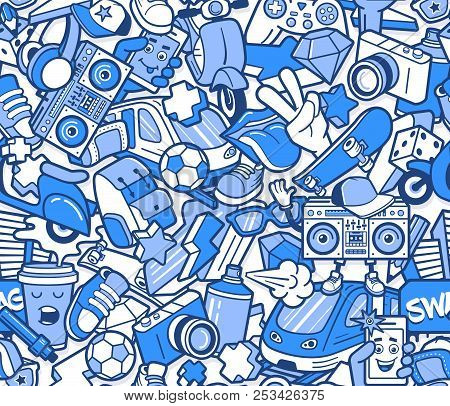 Graffiti Seamless Pattern With Urban Lifestyle Line Icons. Crazy Doodle Abstract Vector Background.
