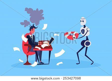 Businessman Hard Working Process Robot Hold Lifebuoy Bot Helper Artificial Intelligence Concept Blue