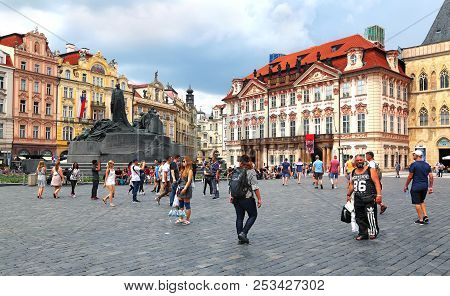 Prague, Czech Republic - Jun 10, 2018. View Of Old Town Square With Tourists In Prague, Czech Republ
