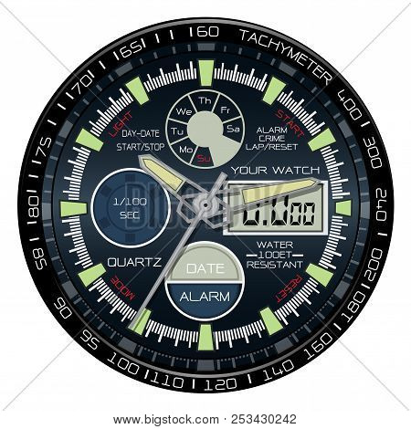 Realistic Watch Chronograph Clock Face On White Background Luxury Vector Illustration.