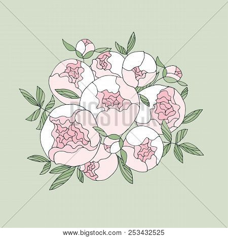 Elegant Modern Peony Flower Bouquet. Floral Stock Vector Illustration For Header, Card, Invitation,