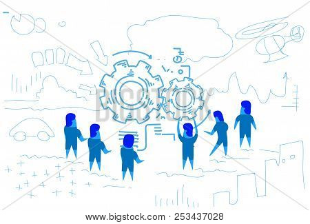 Business People Around Gear Wheel Processing Mechanism Process Teamwork Brainstorming Strategy Conce