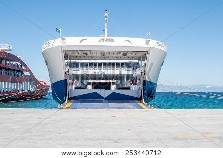 Greece, Thassos - August 11, 2018: Big Ferry Boat Deck With Passengers And Cars, Runs From Keramoti
