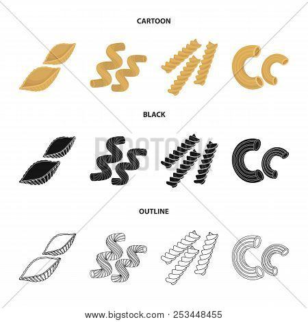 Different Types Of Pasta. Types Of Pasta Set Collection Icons In Cartoon, Black, Outline Style Vecto