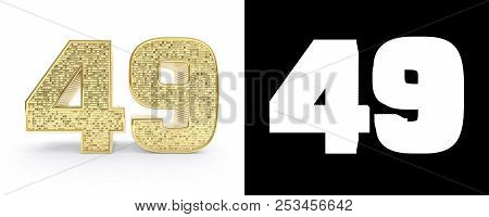 Golden Number Forty Nine (number 49) On White Background With Drop Shadow And Alpha Channel. 3d Illu
