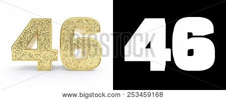 Golden Number Forty Six (number 46) On White Background With Drop Shadow And Alpha Channel. 3d Illus