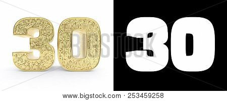 Golden Number Thirty (number 30) On White Background With Drop Shadow And Alpha Channel. 3d Illustra