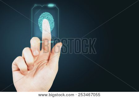 Hand With Finger Print Scan. Access, Technology And Scanning Concept