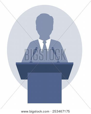 Vector Illustration Of A Man Speaking A Speech From The Rostrum. Eps 10