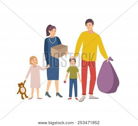 Man, Woman And Children Carrying Bag And Box With Old Items And Clothes To Donate It To Charity Orga