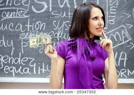 Caucasian Woman With Dollar Note