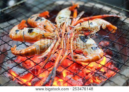 Grilled Shrimp Or Easy Bbq Grilled Shrimp On Grill. Diet Or Cooking Concept