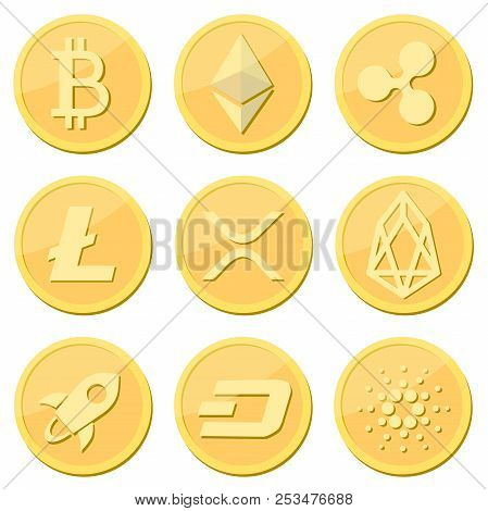 Cryptocurrency Coin Set: Bitcoin, Litecoin, Ripple Coin, Ethereum, Rpx, Eos, Stellar, Dash, Cardaro