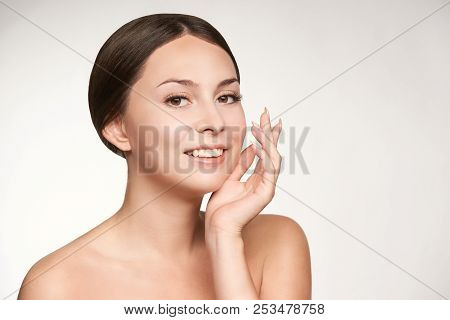 prp forehead woman treatment. facial cosmetology skin therapy, Girl face rejuvenation. poster