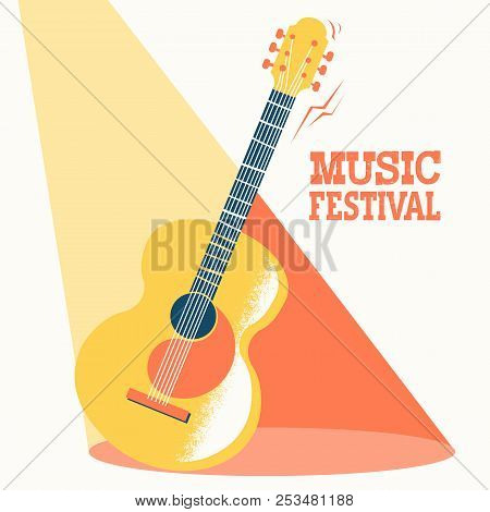 Music Festival Poster With Acoustic Guitar And Text