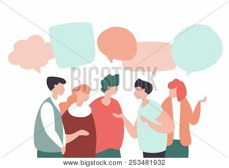 Vector Illustration Young People Communicate, Interact, Discuss With Speech Bubbles In Modern Design